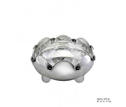 Orkide Motifli Gümüş Şekerlik