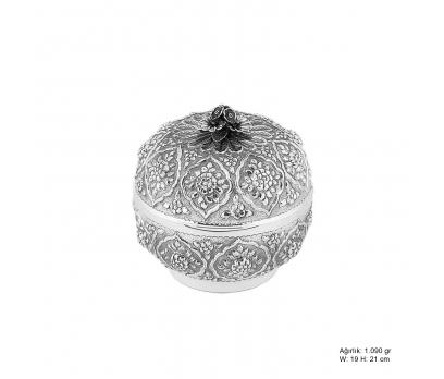 Papatya Desenli Gümüş Bonbonyer