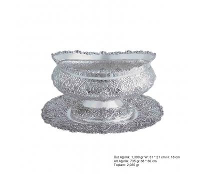 Papatya Desenli Oval Gümüş Boller