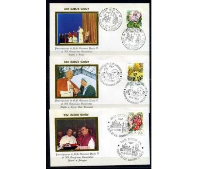 İTALYA 1983 ÖD ÇİÇEKLER & PAPA 3 ZARFTA (020915)