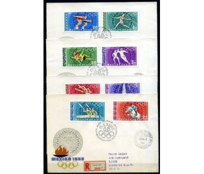 MACARİSTAN 1968 FDC OLİMPİYATLAR  4 ZARFTA(060915)