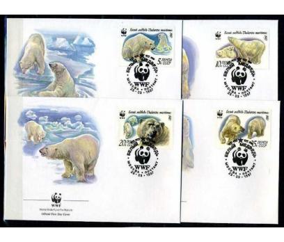 SSCB 1987 FDC WWF KUTUP AYILARI 4 ZARF (040915)