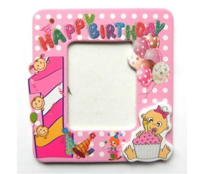 1 Yaş Temalı Happy Birthday Yazılı Bebek Çerçevesi-pembe