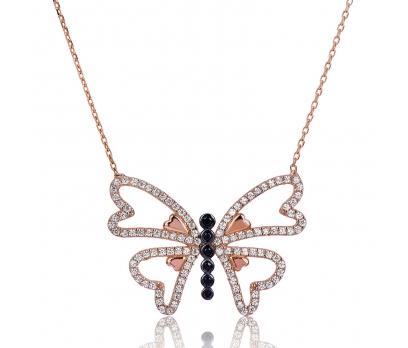 Gümüş Kalpli Kelebek Bayan Kolye