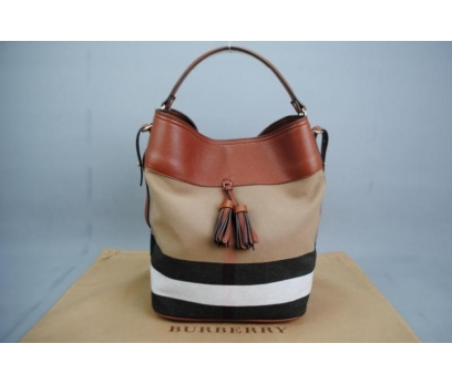 BURBERRY MEDİUM ASHBY İN CANVAS CHECK BAG 1 2x