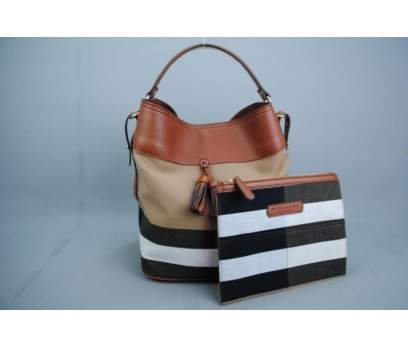 BURBERRY MEDİUM ASHBY İN CANVAS CHECK BAG 2 2x