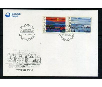 FAROE AD. 1987 FDC TABLO & TORSHAVN SÜPER (008)