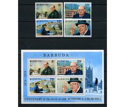 A.BARBUDA ** 1974 CHURCHILL  BLOK VE TAM SERİ(009)