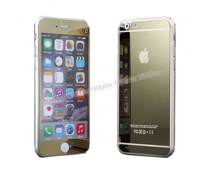 iPhone 6s Plus Renkli Cam Ön + Arka Ekran Koruyucu Gold