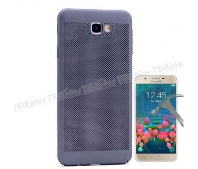 Samsung Galaxy J5 Prime Delikli Sert Kapak Gri + Cam Ekran Koruyucu