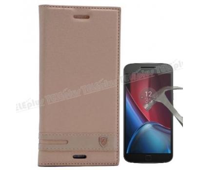 Motorola Moto 4G Plus Mıknatıslı Lux Kapaklı Kılıf Gold + Cam Ekran Koruyucu