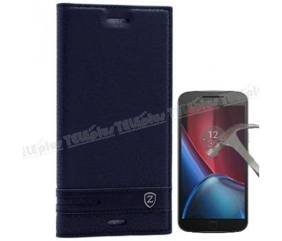 Motorola Moto 4G Plus Mıknatıslı Lux Kapaklı Kılıf Siyah + Cam Ekran Koruyucu 1