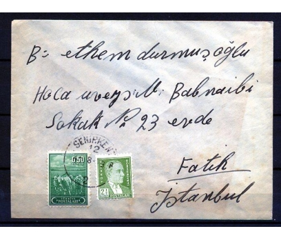 CUMHURİYET 1949 ATATÜRK PULLU P.G.T. ZARF  (K002)
