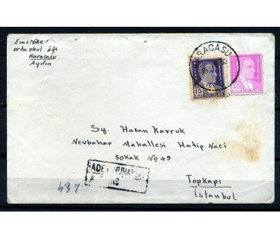CUMHURİYET 1950 ATATÜRK PULLU P.G.T. ZARF  (K002)