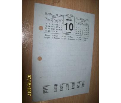 10 Mart  1995 Cuma - Takvim Yaprağı