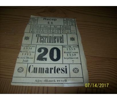 11 Recep- Teşrinievvel 20  1934 Cumartesi - Takvim Yaprağı