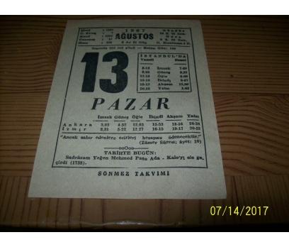 13 Ağustos 1967 Pazar  - Takvim Yaprağı