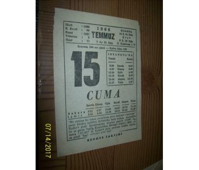 15 Temmuz  1966 Cuma - Takvim Yaprağı