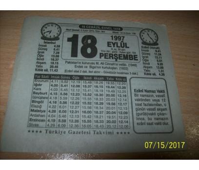 18 Eylül 1997  Perşembe - Takvim Yaprağı