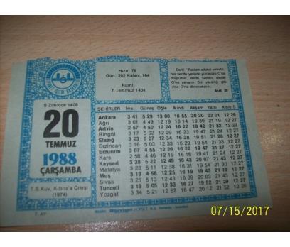 20 Temmuz  1988 Çarşamba - Takvim Yaprağı