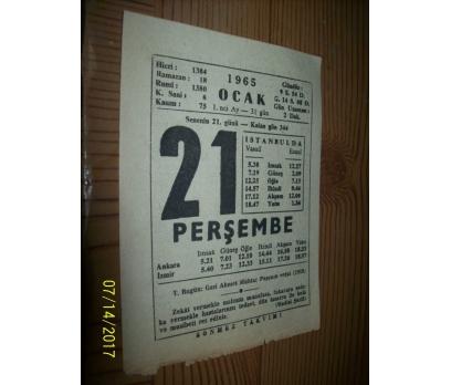 21 Ocak 1965 Perşembe - Takvim Yaprağı