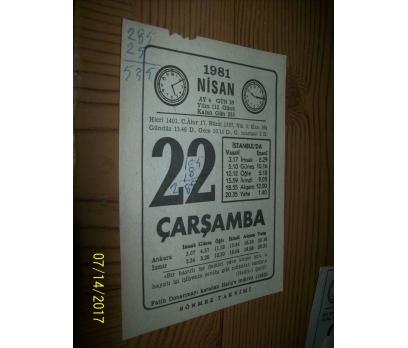 22 Nisan 1981  Çarşamba - Takvim Yaprağı