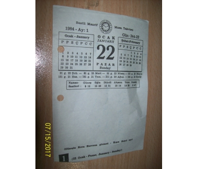 22 Ocak  1984 Pazar - Takvim Yaprağı