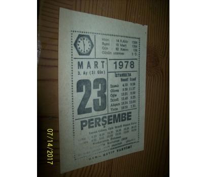23 Mart 1978 Perşembe - Takvim Yaprağı