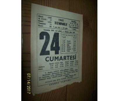 24 Temmuz 1965  Cumartesi - Takvim Yaprağı