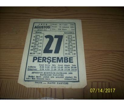 27 Ağustos  1970 Perşembe - Takvim Yaprağı