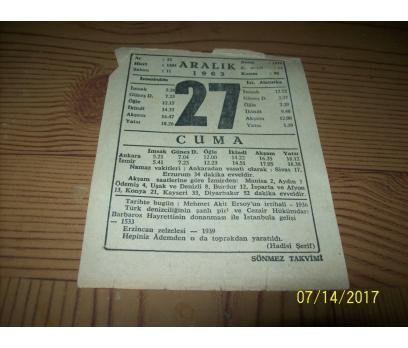 27 Aralık 1963  Cuma - Takvim Yaprağı