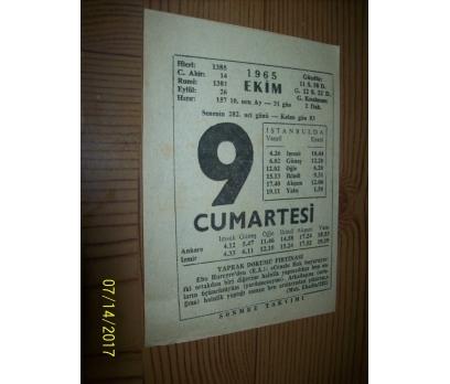 9 Ekim  1965 Cumartesi - Takvim Yaprağı