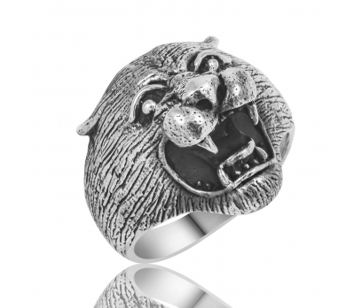 Gümüş Puma Başlı Erkek Yüzük