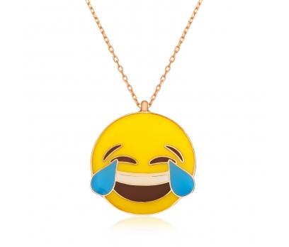 Gümüş Kahkaha Atan Emoji Kolye