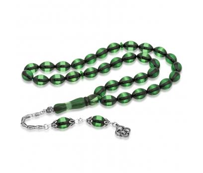 Gümüş Yeşil Toz Kehribar Tesbih