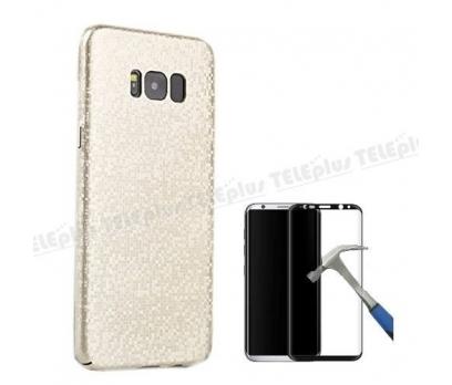 Samsung Galaxy S8 Prizma Sert Kapak Kılıf Gold+ Full Cam
