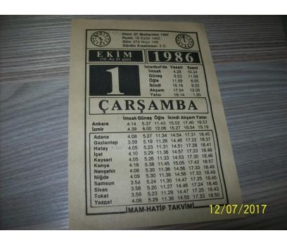 1 Ekim 1986 Çarşamba - Takvim Yaprağı