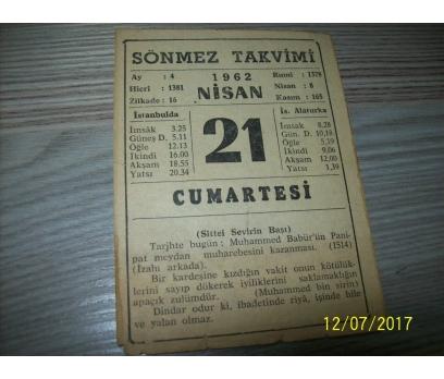 21 Nisan 1962 Cumartesi - Takvim Yaprağı