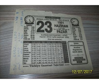 23 Haziran 1991 Pazar - Takvim Yaprağı