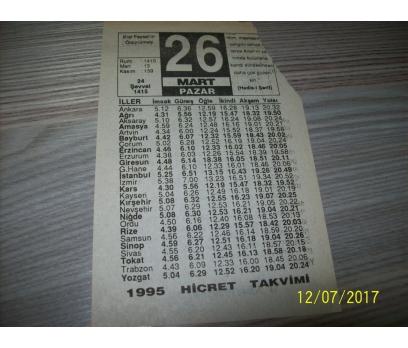 26 Mart 1995 Pazar  - Takvim Yaprağı