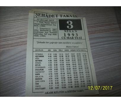 3 Nisan 1993 Cumartesi- Takvim Yaprağı