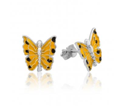 Gümüş Sarı Kelebek Küpe
