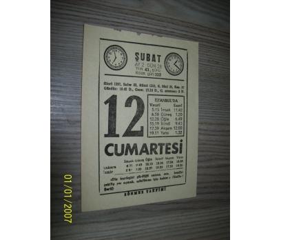 12 ŞUBAT 1976 CUMARTESİ Takvim Yaprağı