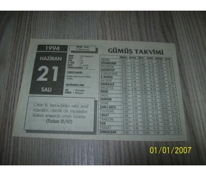 21 HAZİRAN 1994 SALI Takvim Yaprağı