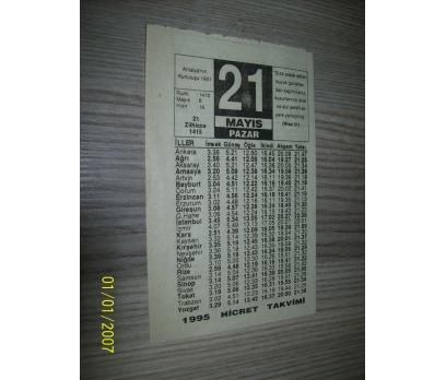 21 MAYIS 1995 PAZAR Takvim Yaprağı