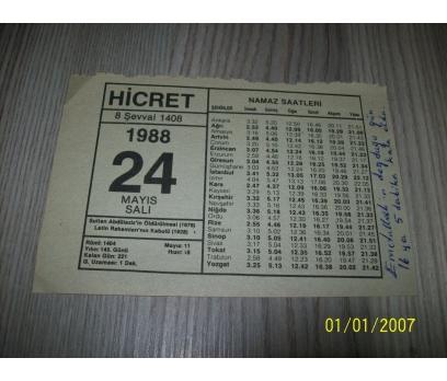 24 MAYIS 1988 SALI Takvim Yaprakları