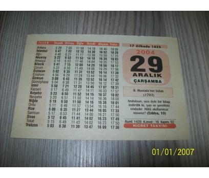 29 ARALIK 2004 ÇARŞAMBA  Takvim Yaprağı