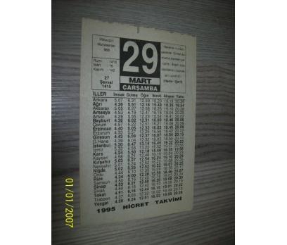 29 MART 1995 ÇARŞAMBA Takvim Yapragı