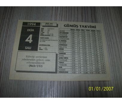 4 EKİM 1994 SALI Takvim Yaprağı