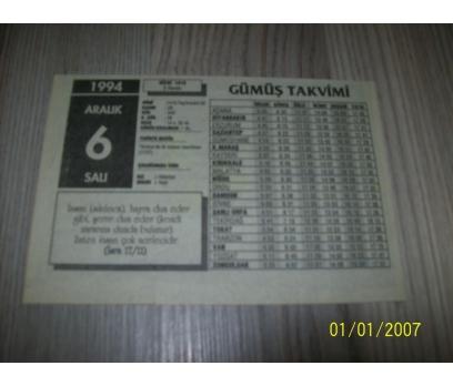 6 ARALIK 1994 SALI Takvim Yaprağı